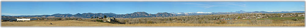 Panorama of Boulder Colorado Flatiron Mountain Range by Jeff Schomay
