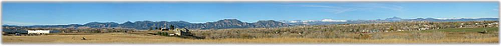 Panorama of Boulder Colorado Flatiron Mountain Range by Jeff Schomay