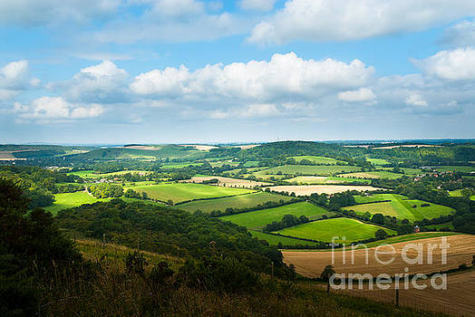 Peter Noyce - Panorama of hampshire countryside from Butser Hill near Portsmou