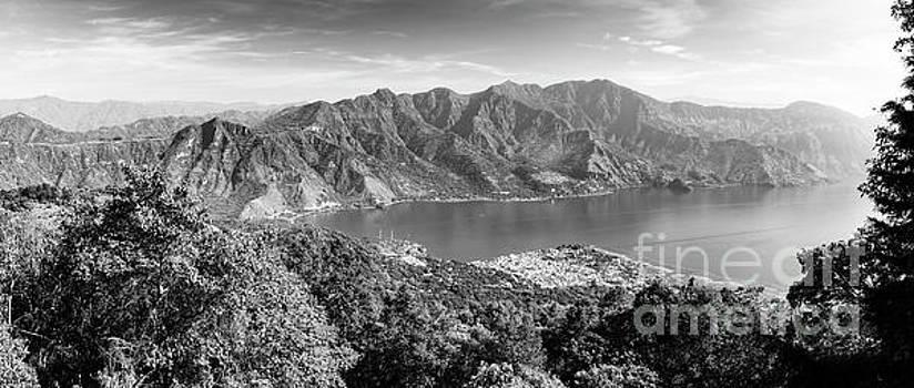 Tim Hester - Panorama Of Lake Atitlan Black and White