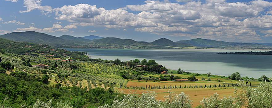 Reimar Gaertner - Panorama of olive groves sloping to Lake Trasimeno in Umbria Ita