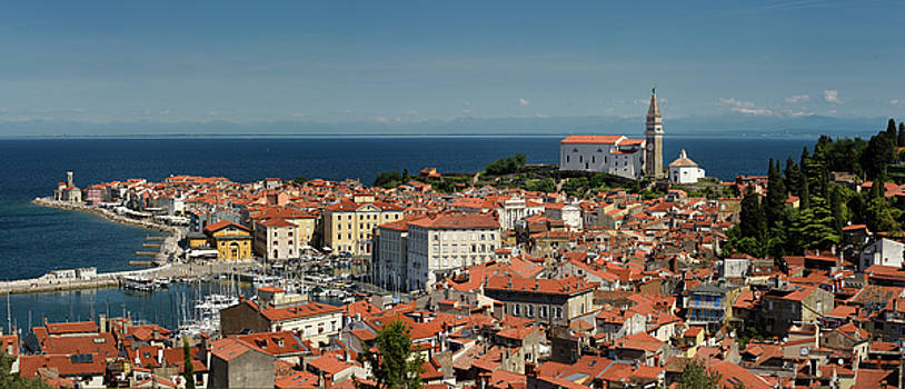 Panorama of Piran Slovenia on Gulf of Trieste Adriatic sea from  by Reimar Gaertner