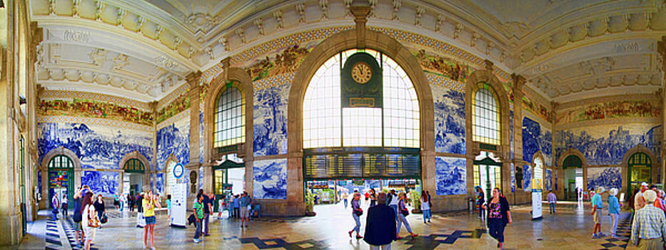 Panorama of the Sao Bento Train Station in Oporto Portugal by David Smith