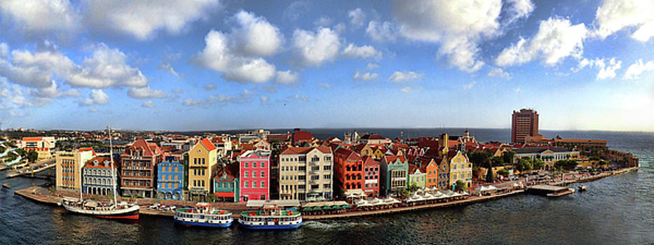 Panorama of Willemstad Harbor Curacao by David Smith