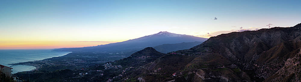 Panorama - Sunset over the volcano Mount Etna and the gulf of Ca by Alfio Finocchiaro