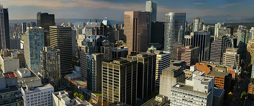 Reimar Gaertner - Panoramic aerial view of downtown Vancouver high rise towers fro