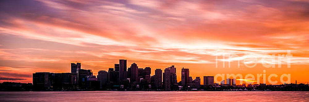 Panoramic Boston Skyline Sunset Photo by Paul Velgos