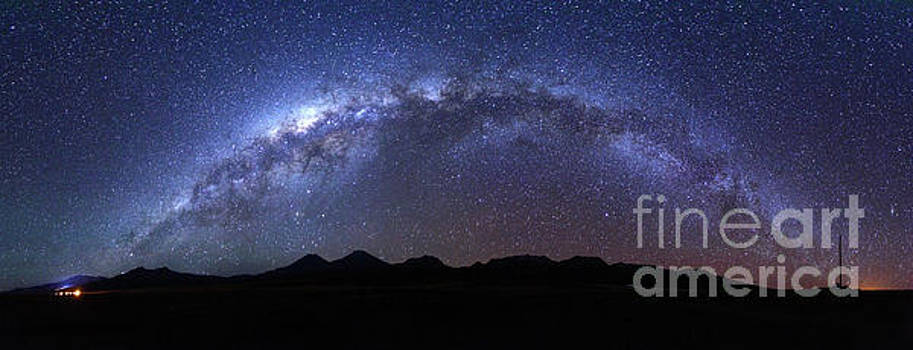James Brunker - Panoramic of Milky Way Above Payachatas Volcanos