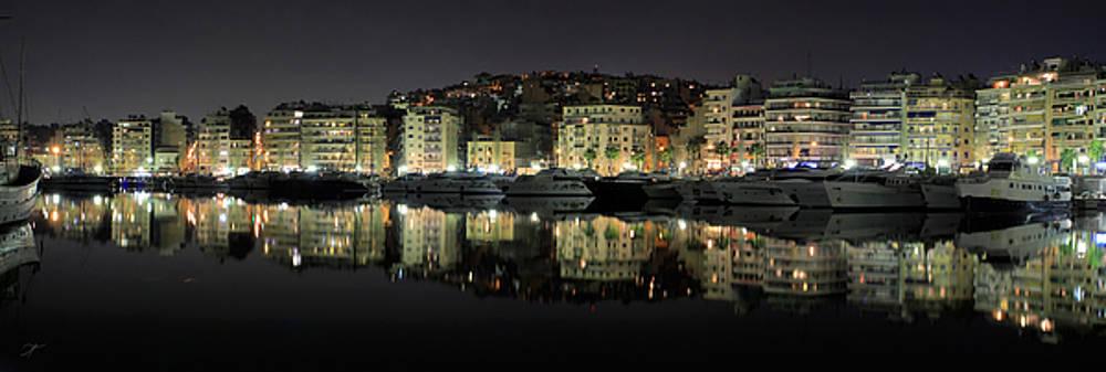 Pireas bay Panoramic at night 73 Degrees by Vassilis Triantafyllidis