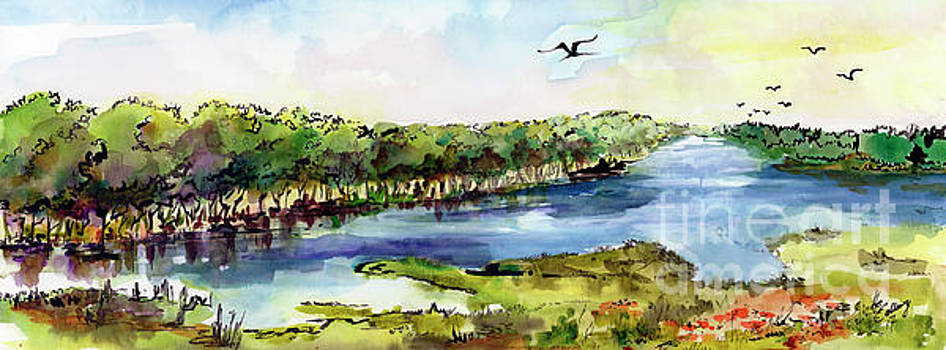 Panoramic River Landscape by Ginette Callaway