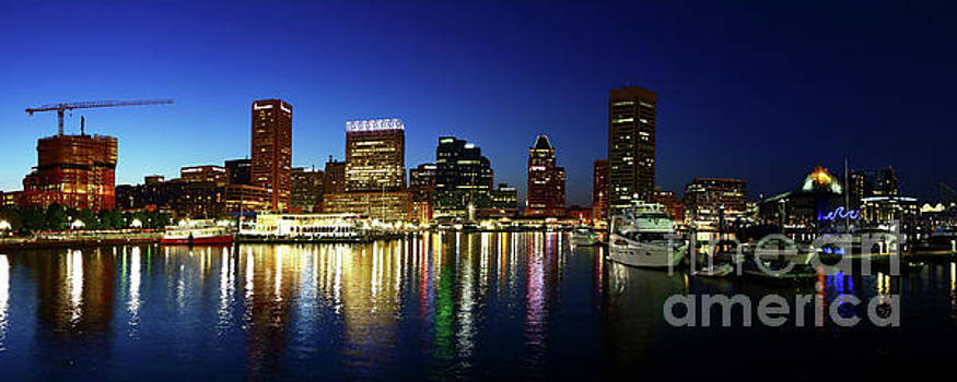 Panoramic View of Baltimore Inner Harbor Reflections at Twilight by James Brunker