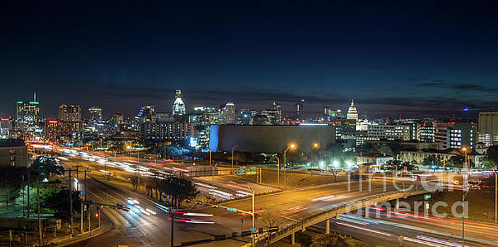 Panoramic View of Busy Austin Texas Downtown by PorqueNo Studios