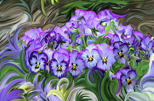 Pansey Flowers And Swirls  by Susanna Katherine