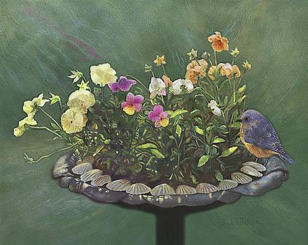 Pansies and Bluebird by Nancy Lee Moran