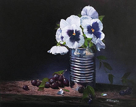 Pansies in a can by Sue Henson