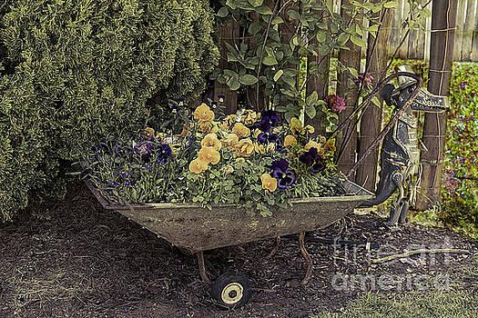 Pansies in a Wheelbarrow by Elaine Teague