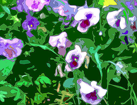 Linda Mears - Pansy Flower Garden panel one of two