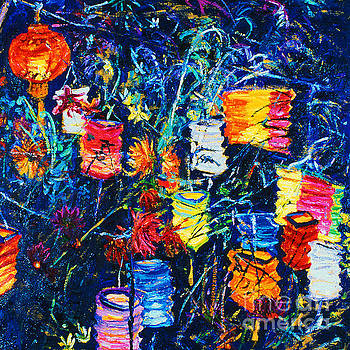 Paper Lanterns and Dahlias by Brian Mahieu