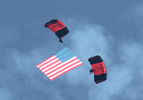 Parachuting With Our US Flag by Robert Banach