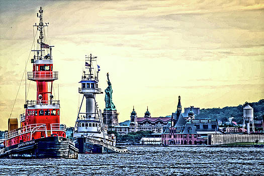 Parade of Tugs, Hudson River, New York City by Wayne Higgs