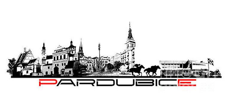 Justyna Jaszke JBJart - Pardubice skyline city black
