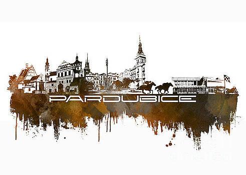Justyna Jaszke JBJart - Pardubice skyline city brown