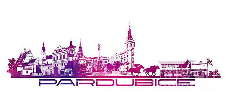 Justyna Jaszke JBJart - Pardubice skyline city purple