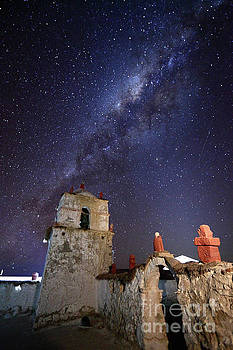 James Brunker - Parinacota Church Belfry and Milky Way Chile