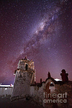 James Brunker - Parinacota Village Church and Milky Way Chile