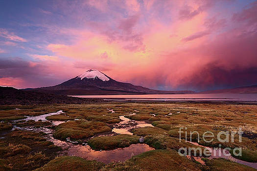 James Brunker - Parinacota Volcano and Lake Chungara at Sunset