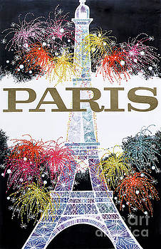 Paris Eiffel Tower Travel Poster by Mindy Sommers