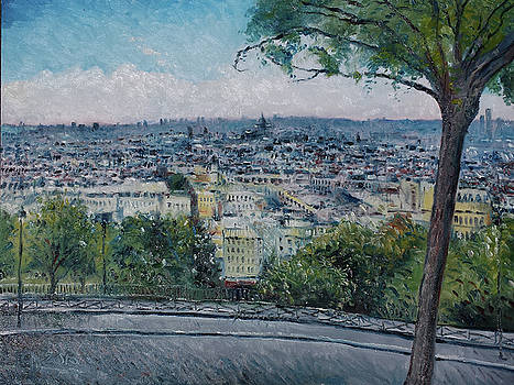 Paris from the Sacre Coeur Montmartre France 2016 by Enver Larney
