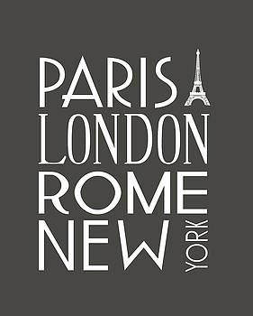 Paris, London, Rome and New York Pillow by Jaime Friedman
