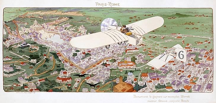 Paris Rome, Beaumont wins in Bleriot monoplane, 1911 by Vintage Printery