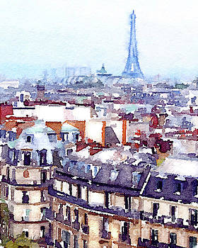 Paris Rooftops watercolor by D Renee Wilson