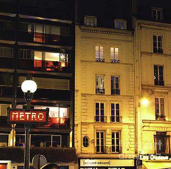 Paris Street Metro Sign by D Renee Wilson