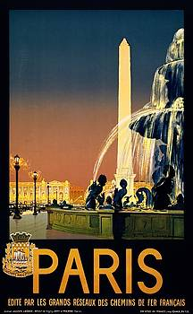 Paris, travel poster for French railway networks, 1930 by Vintage Printery