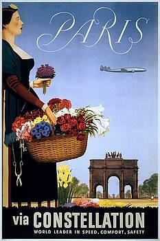 Paris via Constellation, travel poster, 1950 by Vintage Printery