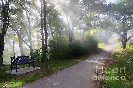 Park Bench With Path Digital Art by Kari Yearous