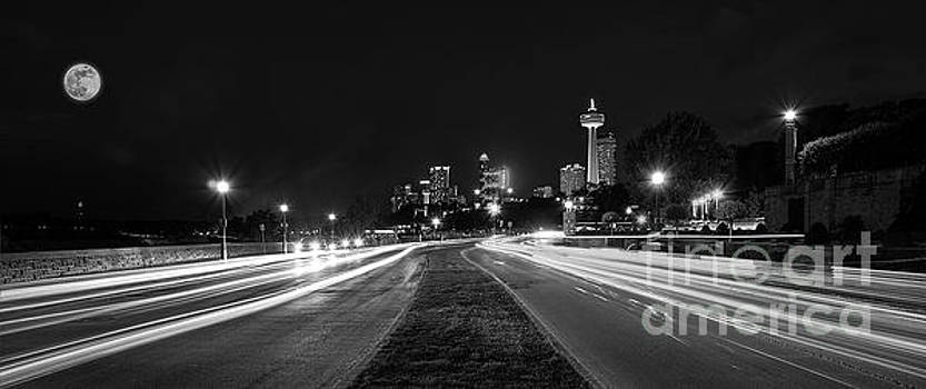 Parkway Lights B W by Serge Chriqui