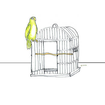 Parrot And Cage by Fran Henig