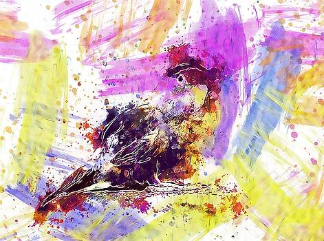 Parrot Bird Looking Art Abstract  by PixBreak Art