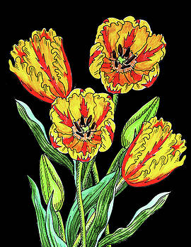 Parrot Tulip Flowers Watercolour  by Irina Sztukowski