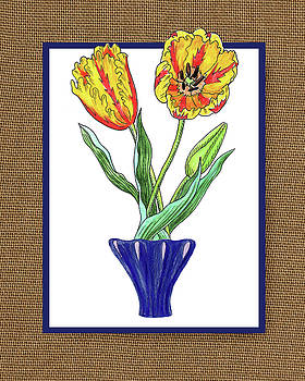 Irina Sztukowski - Parrot Tulips In The Blue Vase Watercolor On Canvas