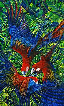 Parrots with Newborn by Michael Cranford