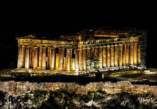Parthenon at Night 1 by Lynn Andrews