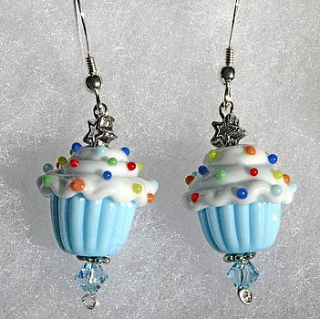 Party Time lampwork cupcake sterling silver pierced earrings by Cheryl Brumfield Knox