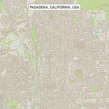 Pasadena California US City Street Map by Frank Ramspott