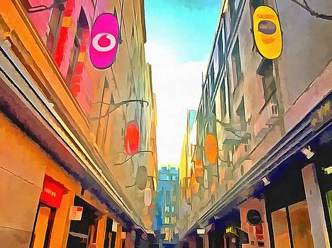 Passage between colorful buildings by Ashish Agarwal