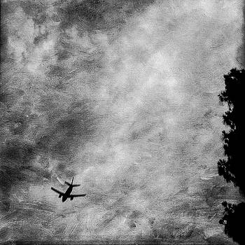 Passenger Jet Airliner Cloudy Sky Over Burbank in BW by YoPedro